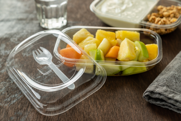 ANL Packaging on the go fruit salad tray with integrated spork